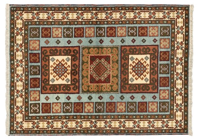 "4'8""x6'6"" Royal Kazak Rug, Light Blue"