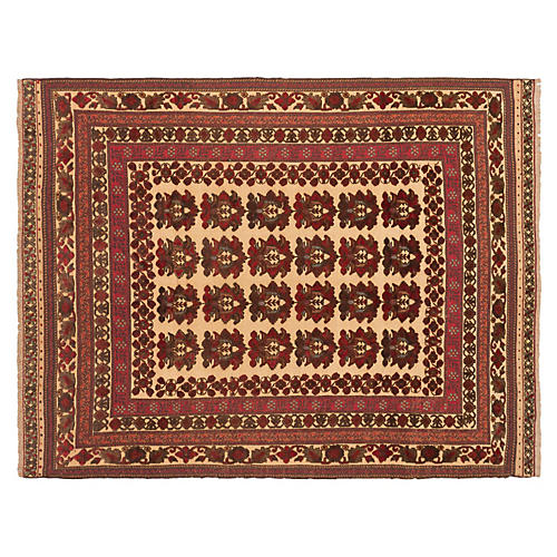 "6'8""x8'6"" Sultanabad Rug, Dark Red/Ivory"