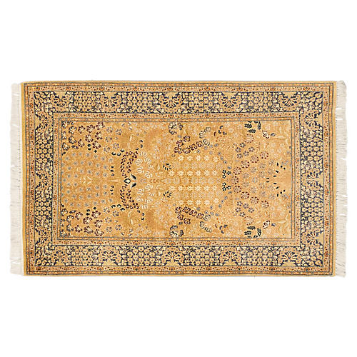 "4'x6'4"" Sultanabad Rug, Light Brown/Navy"