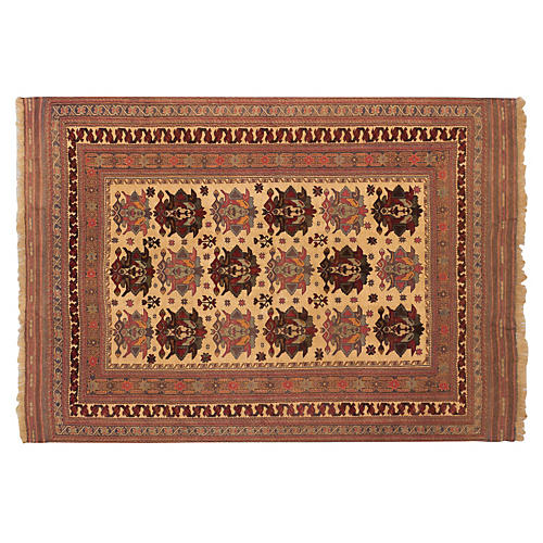 7'x9' Ghafkazi Flat-Weave Rug, Copper