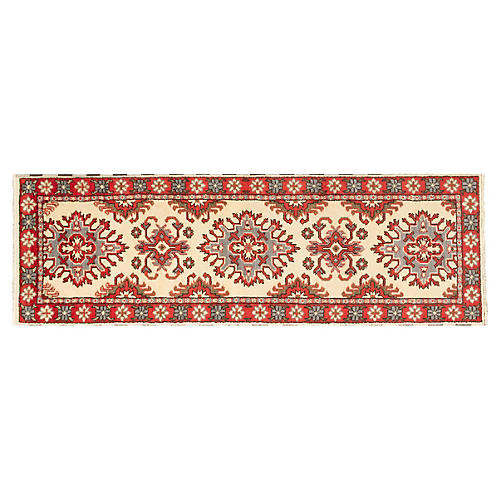 3'x8' Royal Kazak Runner, Cream/Red