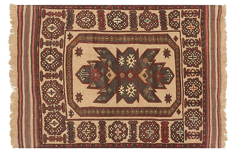 4'x6' Tajik Tribal Rug, Khaki