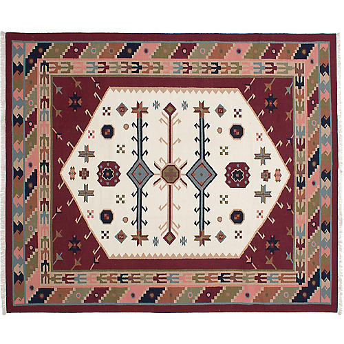 "8'4""x10' Izmir Flat-Weave Kilim, Cream/Dark Red"