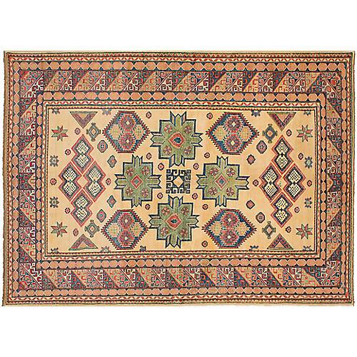 "6'9""x9'8"" Gazni Hand-Knotted Rug, Ivory"