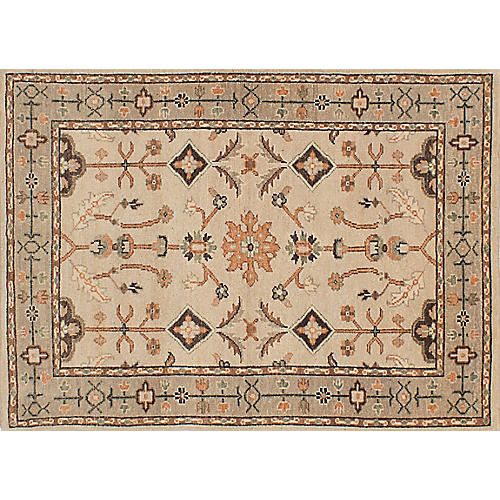 "4'9""x6'7"" Royal Oushak Rug, Ivory/Multi"