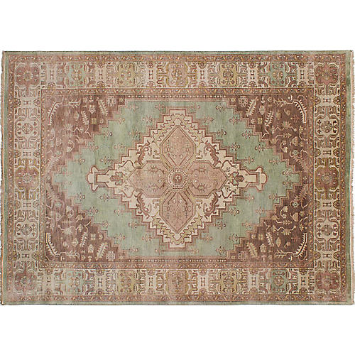 "7'10""x10'10"" Jules-Sultane Hand-Knotted Rug, Green"