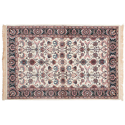 "4'x6'2"" Royal Kashan Hand-Knotted Rug, Cream/Multi"