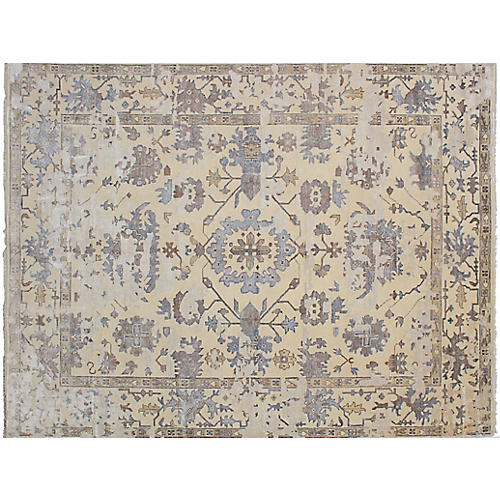 """9'x11'10"""" Jules Oushak Hand-Knotted Rug, Beige"""