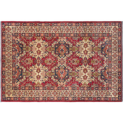 "8'5""x12'5"" Gazni Hand-Knotted Rug, Ruby/Ivory"