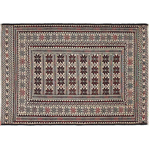 "4'x5'11"" Shiravan Flat-Weave Rug, Cream/Dark Red"