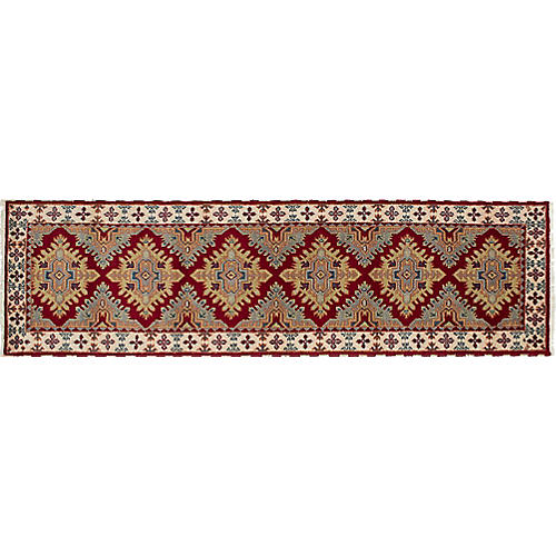"2'9""x9'10"" Kazak Hand-Knotted Runner, Cream/Wine"