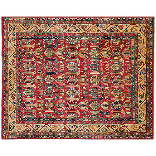 "8'11""x11'6"" Gazni Hand-Woven Rug, Red"