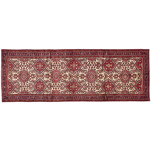 "3'2""x9'5"" Darjazin Hand-Woven Runner, Cream/Red"