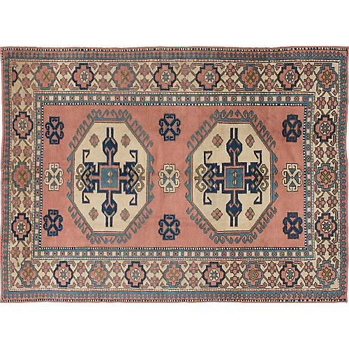 "6'3""x8'6"" Oushak Hand-Knotted Rug, Pink/Multi"