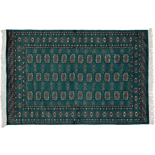4'x6' Peshawar Bokhara Hand-Knotted Rug, Forest