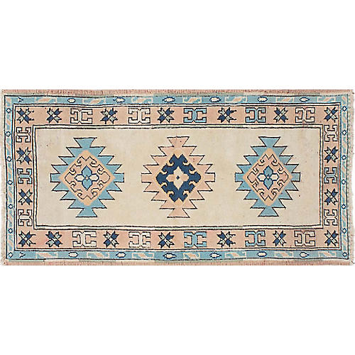 "2'8""x5'4"" Shiravan Hand-Knotted Rug, Cream"