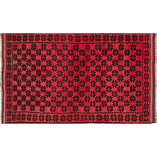 """3'2""""x5'6"""" Transition Hand-Knotted Rug, Red/Black"""