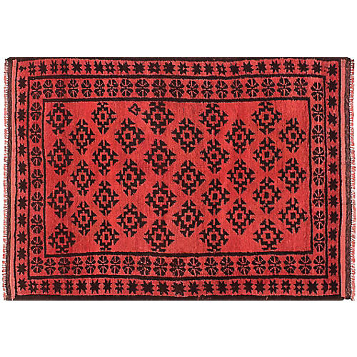 """3'7""""x5'1"""" Transition Hand-Knotted Rug, Salmon"""