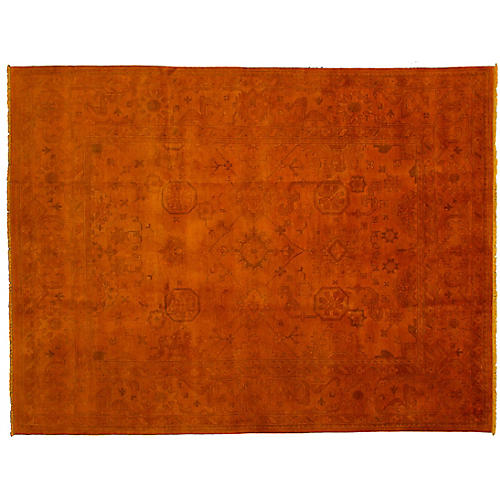 "9'x11'9"" Transition Hand-Knotted Rug, Orange"