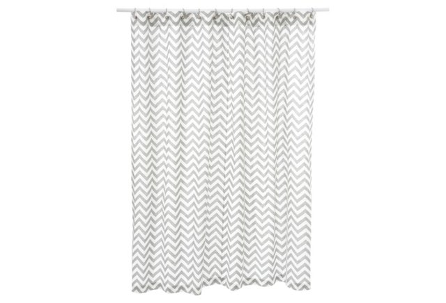 Chevron Shower Curtain, Ash White