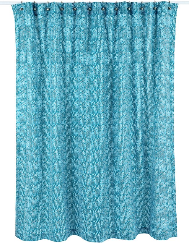 Chevron Line Shower Curtain, Blue