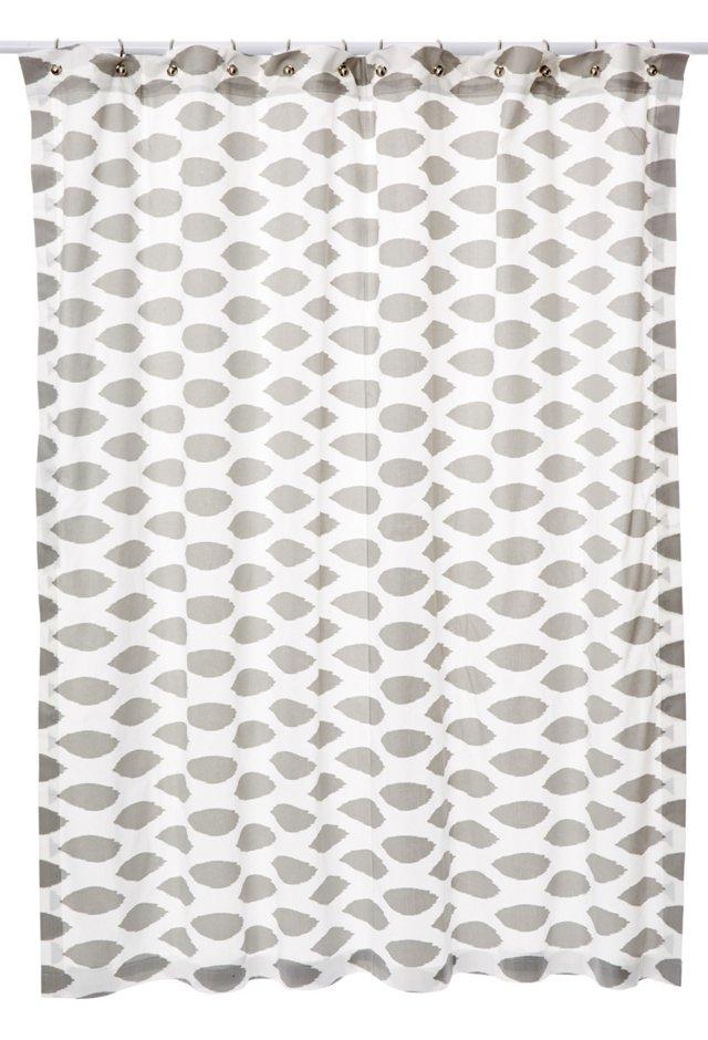 Ikat Shower Curtain, Gray/White