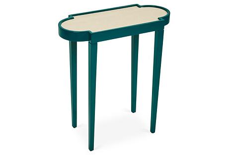 Tini II Side Table, Green/Tan Shagreen
