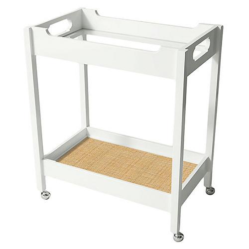 Mirrored Bar Cart, White