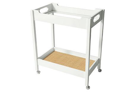 Mirrored Bar Cart w/ Raffia, White