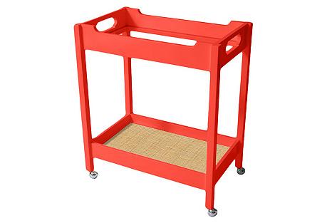 Mirrored Bar Cart w/ Raffia, Coral