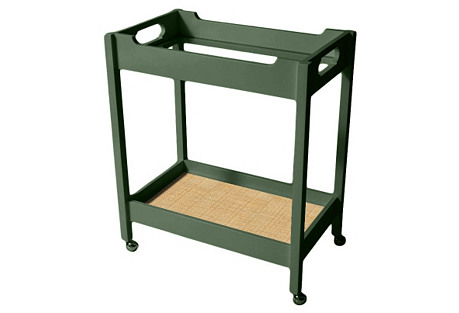 Mirrored Bar Cart w/ Raffia, Sage