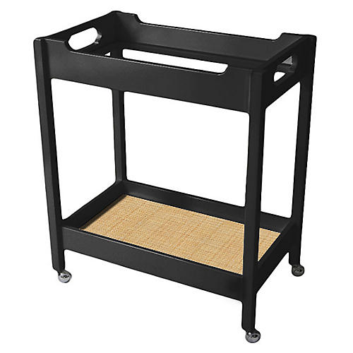 Mirrored Bar Cart, Black