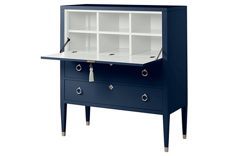 Easton Secretary Desk, Navy/White