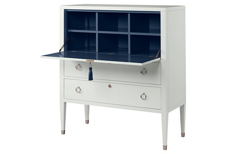 Easton Secretary Desk, White/Navy