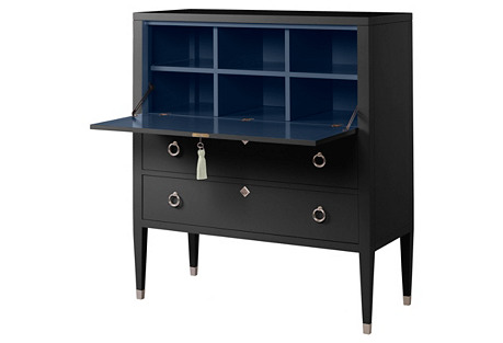 Easton Secretary Desk, Black/Navy