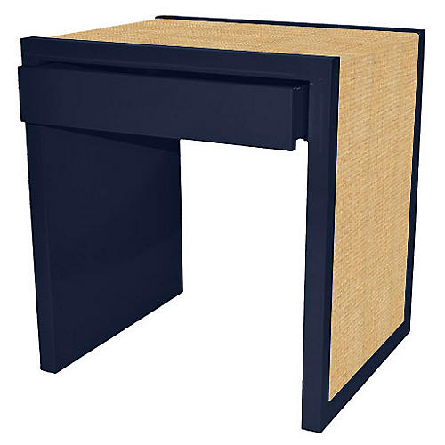Harbour Island Side Table, Navy/Natural