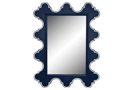 Easton Wall Mirror, Navy/White