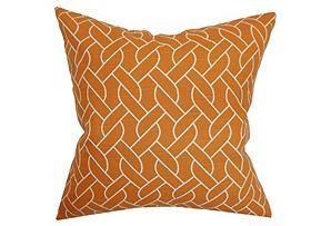 Neptune 18x18 Cotton Pillow, Mango*