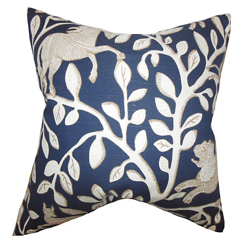 Leaves Pillow, Blue/White