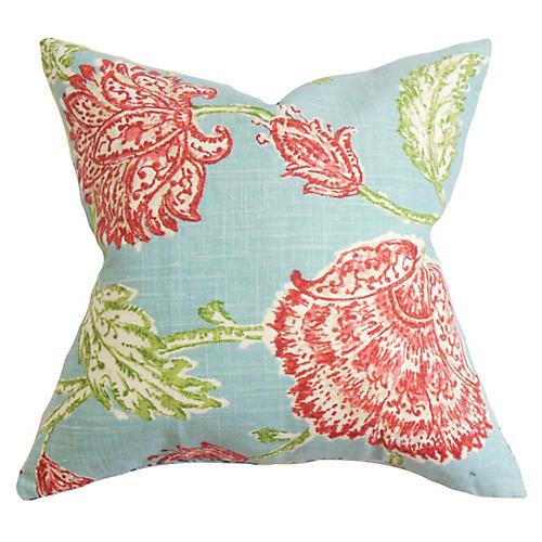 Floral 18x18 Pillow, Aqua