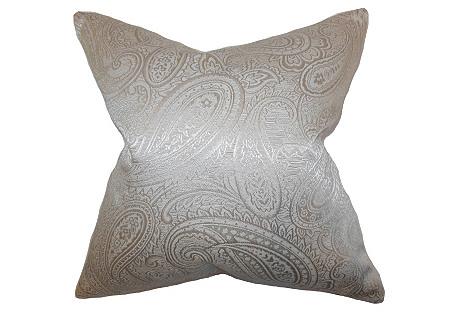 Paisley 18x18 Cotton Pillow, Silver