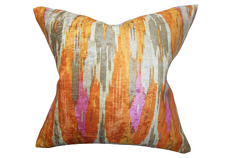 Ikat 18x18 Cotton Pillow, Multi