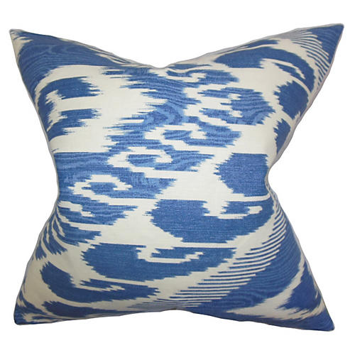 Ikat Pillow, Blue Linen