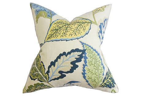 Leaves 18x18 Cotton Pillow, Blue