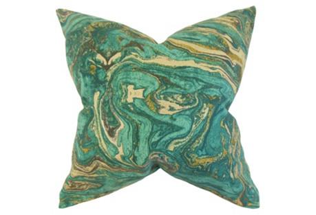 Ceylon 18x18 Cotton Pillow, Aqua