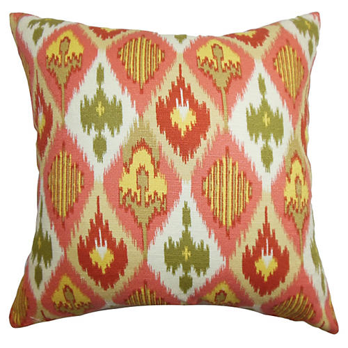 Bechet Ikat Pillow, Pink/Yellow