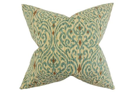 Ennis Ikat 20x20 Pillow, Aqua