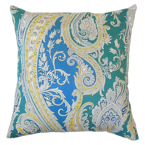 Efharis 20x20 Paisley Pillow, Blue
