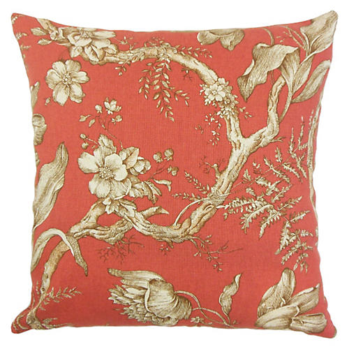 Ilise 20x20 Floral Pillow, Red