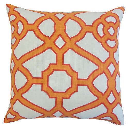 Geometric 20x20 Outdoor Pillow, Orange